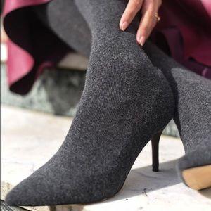 Zara over the knee grey sock boot 👢 40